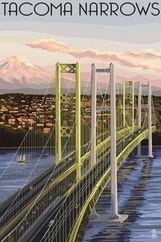 Tacoma, Washington - Narrows Bridge and Rainier - Lantern Press Poster