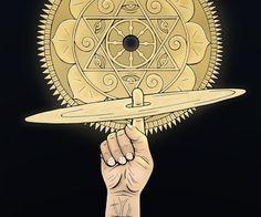 """Sudarshana Chakra - arma discoidale con 108 bordi seghettati utilizzati dal dio indù Vishnu per la definitiva distruzione di un nemico.La raffigurazione di Vishnu con Sudarshana Chakra significa anche che Vishnu è il custodedei corpi celesti e cieli.La parola Sudarshana significa """" buon auspicio""""Darshana (दर्शन) che significa """"visione"""".Sudarshana è generalmente adorato durante Homas per allontanare i poteri negativi o vibrazioni."""