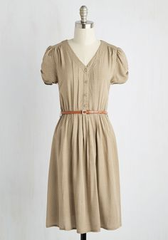 Take to the Wind A-Line Dress in Tan. Remember walking through the prairie, picking up dandelion seed heads, making wishes, and blowing the tiny white seeds into the wind? #tan #modcloth