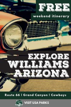 Whether you're looking for classic cars on Route 66 or classic views from the Grand Canyon Williams Arizona is the place for you. Williams is the perfect spot for a weekend trip! Travel Tips Tips Travel Guide Hacks packing tour Usa Travel Guide, Travel Usa, Travel Guides, Travel Tips, Canada Travel, Travel Hacks, Travel Packing, Solo Travel, Budget Travel