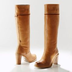camel leather knee high BOOTS - shoes