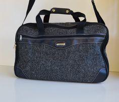 Vintage Jaguar Blue Tweed Bag Overnight Weekender by JudysJunktion, $45.00