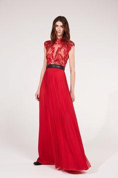 Amanda Wakeley - Spring 18 - Look 28 - Embellished Silk Tulle Dress & Worked Leather Belt