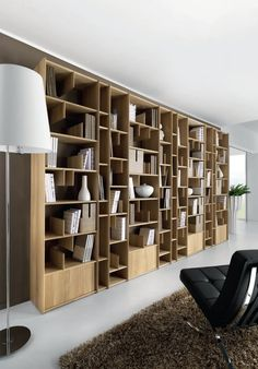 Wall-mounted wooden bookcase ESPACE By Domus Arte design Enrico Bedin Wooden Bookcase, Bookcase Shelves, Shelving, Bookcases, Home Library Design, House Design, Home Furniture, Furniture Design, Bibliotheque Design