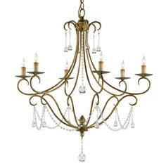 Wrought Iron and Crystal Chandelier by Currey and Company. $1,091, 28rd x 30h