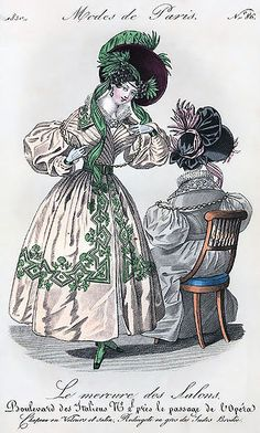 Mercure des salons - 1830s - jolies décorations sur la robe!