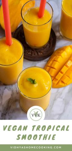 Enjoy the tropical flavors with this delicious cold mango pineapple smoothie with orange juice. A three-ingredient vegan smoothie, just perfect for the summers! Dairy Free Appetizers, Dairy Free Snacks, Vegetarian Appetizers, Vegan Smoothies, Fruit Smoothies, Smoothie Recipes, Orange Juice Smoothie, Mango Pineapple Smoothie, Amazing Vegetarian Recipes