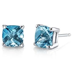 MSRP: $399.99    Our Price: $299.99    Savings: $100.00         Item Number: E18638-E19110    Availability: Usually Ships in 5 Business Days              Product Description:    These beautiful earrings for her feature Cushion Cut Genuine Swiss Blue Topaz Gemstones with a Lagoon Blue Hue with Brilliant Sparkle in 14k White Gold Round and are essential for any girl's jewelry collection. These gorgeous studs are fashioned into sleek white gold four-pronged mount. Fit is secure and comfortable…