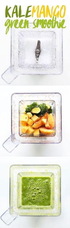 AMAZING Kale Mango green smoothie! #vegan #plantbased #glutenfree