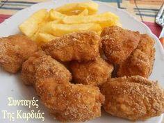 Nuggets σπιτικά, για να ξέρουμε και τι τρώμε! Μια φορά αν τα δοκιμάσετε, δεν θα ξαναγοράσετε ποτέ έτοιμα, σας το εγγυώμαι! Έτοιμα σε μισ... Kfc, Greek Recipes, Kids Meals, Chicken Recipes, Deserts, Food And Drink, Cooking Recipes, Ethnic Recipes, Party Time