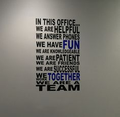 We are a team wall decal perfect for the front office area or break room of a school! Office Break Room, Office Walls, Office Art, Office Ideas For Work Business Decor, App Office, Office Desk, Office Cubicle, Office Spaces, Best Office