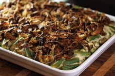 {Crispy Onion and Greenbean Mushroom Cassarole - The Biggest Loser Thanksgiving Menu © aidamollenkamp.com - castingduo.com #thanksgiving #greenbeancassarole}
