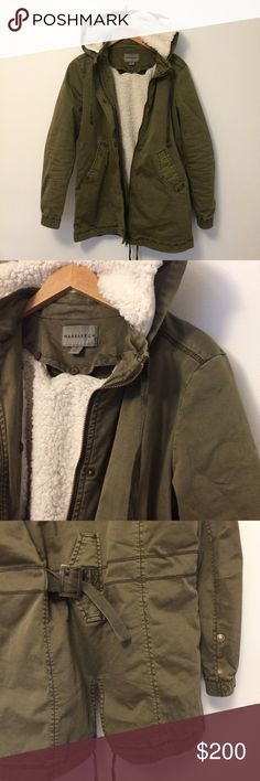 """Marrakech   Anorak & Utility Jacket NWOT Marrakech Jillian Anorak with removable Sherpa lining. The Sherpa is buttoned in so this makes an amazing coat to use throughout seasons! It becomes more of a utility jacket when the Sherpa is removed. The Sherpa is super soft ❤️ at the back you can sinch the waist. Button and zip closure, gold button detailing at sleeves. Two pockets in the front. Originally purchased from Anthropologie. 28"""" long.  💕Reasonable offers are always accepted…"""
