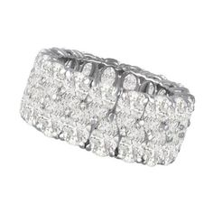 Pre-owned Chopard 18K White Gold Eternity Diamond Band (808290 MAD) ❤ liked on Polyvore featuring jewelry, rings, bracelets, diamond band ring, wedding band rings, preowned wedding rings, diamond cocktail rings and 18k diamond ring