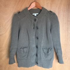 Banana Republic   Sweater Chunky knit sweater. Army green. Big buttons and the cutest pockets! 3/4 length sleeves. Great condition! Banana Republic Sweaters
