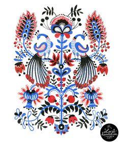 Peacocks (Stylised Gorodec pattern) by Elena Kravchenko