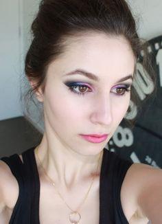 Pink eyeshadow, makeup, smokey eye, graphic makeup, pink lipstick