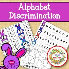 Alphabet Discrimination Activities - Easter Bunny Rabbit Theme Learn To Spell, Learn To Count, Counting Activities, Alphabet Activities, Teaching Toddlers Abc, Teaching Ideas, Kindergarten Blogs, School Reviews, Learning Letters