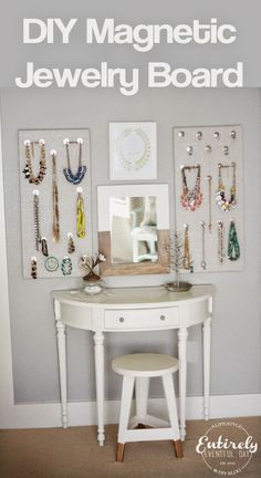 Dying over this idea! Magnetic hooks, pretty fabric, all my jewelry = genius! It's so easy to make and so functional! #mustpin #diyproject