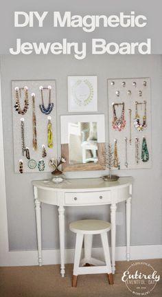 DIY Magnetic Jewelry Board {Organizer}