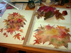 Ann's Watercolour Studio: Autumn leaves and negative painting.