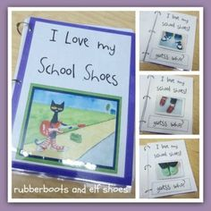 """Pete the Cat: shoes and class book! Love Pete the Cat! And so do our kids! The whole class goes around singing """"I'm rockin in my school shoes!""""I love pete the cat. Preschool Books, Kindergarten Literacy, Kindergarten Reading, Preschool Classroom, Preschool Activities, Book Activities, Classroom Ideas, Literacy Centers, Kindergarten Posters"""
