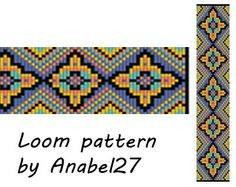 Pattern made with size 11/0 Miyuki Delica seed beads  Approx width: 1.47 (25 columns)  Approx length: 6.82 Technique: Loom or Square stitch  Colors: