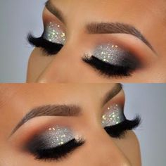 43 Christmas Makeup Ideas This Season - Samantha Fash .- 43 Weihnachts-Make-up-Ideen für diese Saison – Samantha Fashion Life 43 Christmas Makeup Ideas For This Season- Silver Sparkle Eye Makeup For Christmas Or NYE – - Makeup Eye Looks, Smokey Eye Makeup, Love Makeup, Makeup Inspo, Eyeshadow Makeup, Makeup Ideas, Makeup Brushes, Grey Eye Makeup, Makeup Tutorials