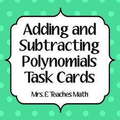 There are 20 cards in this set. Problems are of various difficulty. All problems are adding and subtracting polynomials. Look at the thumbnails . Fun Math Activities, Math Games For Kids, Math Resources, Teaching Tips, Teaching Math, Algebra 1 Textbook, Algebra 2, Adding And Subtracting Polynomials, Math Teacher