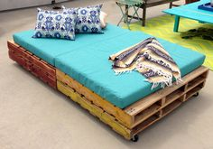 Rolling Wood Pallet Daybed/Bench set - outdoor and indoor use!