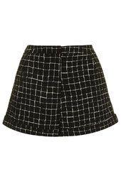 Grid Print Turn-Up Shorts