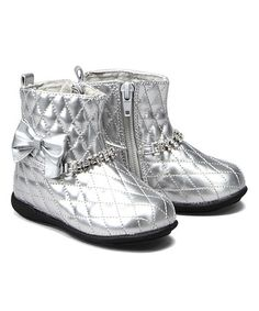 Look what I found on #zulily! Silver Quilted Boot #zulilyfinds