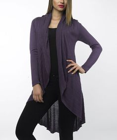 Take a look at this Plum Wool-Blend Hi-Low Open Cardigan by Sioni on #zulily today!