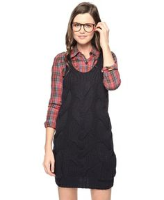 Wool-Blend Cable Knit Dress Plaid Under Shirt - StyleSays ...