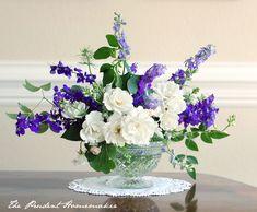 Iceberg Roses, larkspur, kale, passionfruit vine, Lady Banks' Rose leaves