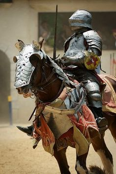 A performer rides to take his place in the joust at the Scarborough Renaissance Festival in Waxahachie, Texas Scarborough 04 Medieval Horse, Medieval Knight, Medieval Armor, Medieval Fantasy, Horse Armor, Arm Armor, Knight In Shining Armor, Knight Armor, Renaissance