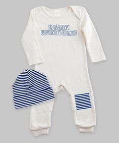 Love this Ivory & Navy Stripe 'Baby Brother' Patch Playsuit & Beanie - Infant by Tesa Babe on #zulily! #zulilyfinds