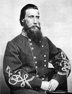 John Bell Hood (June 1, 1831 – August 30, 1879) was a Confederate general during the American Civil War. Hood had a reputation for bravery & aggressiveness that sometimes bordered on recklessness. Hood became increasingly ineffective as he was promoted to lead larger, independent commands late in the war, & his career was marred by his decisive defeats leading an army in the Atlanta Campaign & the Franklin-Nashville Campaign. Hood was born in Owingsville, Kentucky