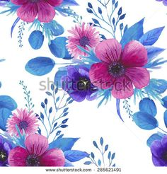Illustration about Floral seamless pattern with watercolor pink and purple roses. Background with bouquets of hand drawn watercolor flowers. Illustration of botanical, petal, pattern - 60359316 Boho Chic, Floral Cushions, Large Cushions, Anemone Flower, Fashion Templates, Summer Design, Purple Roses, Designer Throw Pillows, Watercolor Flowers