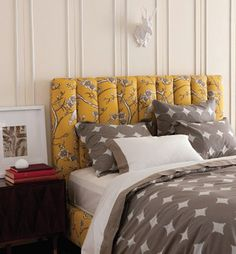 Love the bold color and pattern of this headboard