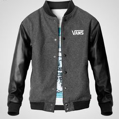 Vans Men PU Leather Sleeves Varsity Jacket Grey Black [Vans Men PU Leather Sleeves Jacket] - $75.00 : letterman jackets cheap