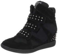 Skechers Women's Plus 3-Staked Fashion Sneaker,Black,7.5 M US (887047186047) Studs and spikes infuse this retro-athletic wedge sneaker with toughness.