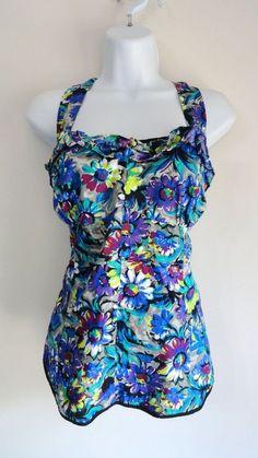 Anthropologie Odille Halter Floral Tropical Top Shirt Blouse Retro 12 Large L XL #odille #Halter
