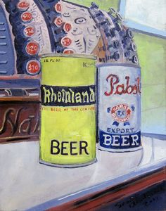 Antique Beer Cans Pabst and Rheinland oil painting, $135.00