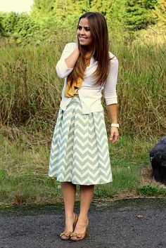 knee-length chevron-- so cute! This girl has the CUTEST (and modest) dresses and skirts I've ever seen!!