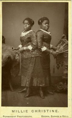"ca. 1860-90'S, [carte de visite portrait of Millie & Christine, ""African-American Siamese Twins""]"