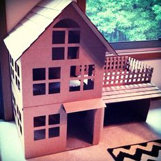 Adorable Design Of The Cardboard Cat House With Brown Color Ideas Added With Some Windows And Brown Railing Ideas
