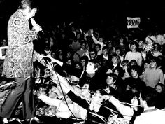 Australia's No. 1 pop singer Normie Rowe in concert at Festival Hall, 1967. Image: HWT archive