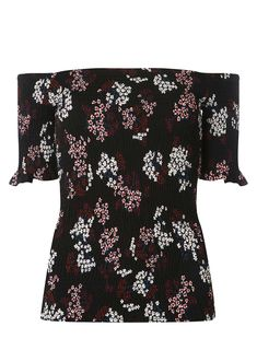 Black Ditsy Print Sheered Bardot Top - DorothyPerkins Malaysia