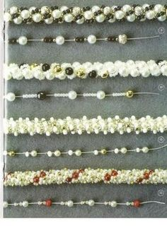 bead crochet patterns using gemstone chips and various sizes of seed beads. part 2 Bead Crochet Patterns, Beading Patterns, Beaded Jewelry, Handmade Jewelry, Beaded Bracelets, Jewelry Patterns, Bracelet Patterns, Bead Crafts, Seed Beads